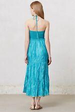 Anthropologie Maeve Daleka Day Silk Turquoise Halter Dress skirt long size S M