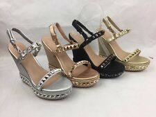 Womens Ladies Espadrilles Platform Strappy High Wedge Studded Sandals Shoes Size