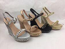 Alpargatas Para Mujer Damas Plataforma Zapatos Sandalias De Tiras Con Tachas Cuña Alto Talla