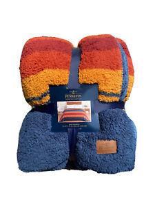 PENDLETON Home Sherpa fleece blanket King Aztec Grand Canyon New Blue Orange Red