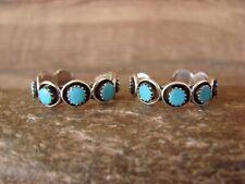Native American Jewelry Sterling Silver Turquoise Hoop Earrings! Zuni Indian