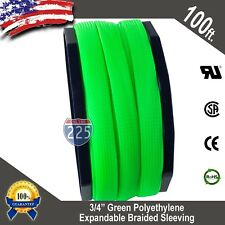 "100 FT 3/4"" Green Expandable Wire Cable Sleeving Sheathing Braided Loom Tubing"