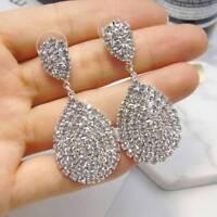 Water Drop Stud Earrings Anti Allergy Full Rhinestone Jewelry Women Trendy Party