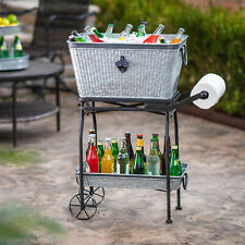 Beverage Tub Rolling Cart Tray 7 Gal. Rust-Resistant Galvanized Steel