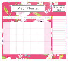 Magnetic Meal Planner & Tear Off Shopping List Note Pad Pink Floral Design FLUJ