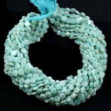 "Natural Plain Smooth Amazonite Gemstone Coin Shape Beads Full 13"" Strand 5.5 mm"