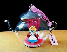 Disney Alice in Wonderland Glass Teapot Christmas Ornament Disneyland Paris
