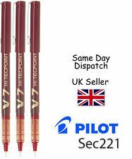 3 x PILOT HI-TECPOINT V7 0,7 mm LIQUIDO Inchiostro Penna Roller Rosso