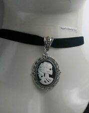 "Skull Skeleton Lady black cameo Charm with Black Flat 13"" Velvet Choker Necklace"