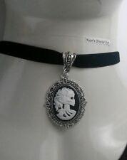 "Skull Skeleton Lady black cameo Charm with Black Flat 13"" Velvet Choker Necklace"