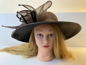FINE MILLINERY Flower Bow Wide Brim Derby Wedding Church Women's Hat Brown Black