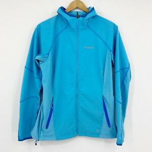 Columbia Womens Omni-Shield Activewear Zip Hooded Jacket Windbreaker Blue Sz L
