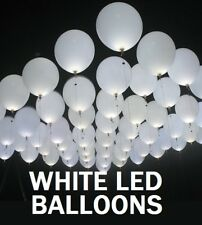 "10 X LED BRIGHT WHITE 11"" LARGE BALLOONS WEDDINGS BIRTHDAYS PARTIES PARTY FUN"