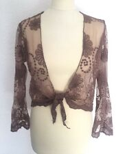 SALE Brown women's lace embroidered shrug top long sleeves with ties S/M