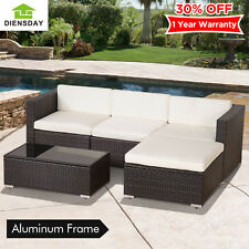 Diensday 5pc Patio Furniture Set Wicker Rattan Sofa Sectional Garden Couch Deck