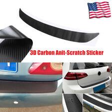 Black DIY Car 3D Carbon Fiber Look Inner Rear Bumper Protector Sill Trunk Trim