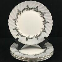 Set of 4 VTG Bread Plates EB Foley Silver Fern Platinum Trim Laurel England