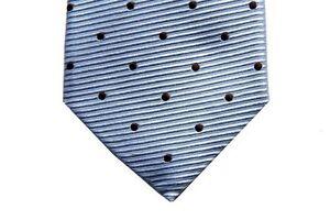 Battisti Tie Light blue ribbed with brown polkadots, 7-fold, pure silk