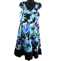 Chaps Multi-Color Floral Sleeveless V Neck Dress Women's Size 10