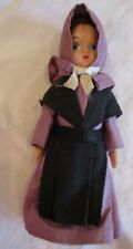 Vintage Hard Plastic Amish Doll Black & Purple Dress Arms Move Hand Painted Face
