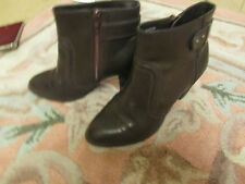 "M&S Brown 2.75"" Cuban Heel Zip Up Ankle Boots in Size 3 wide fit"
