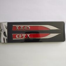 2Pcs Metal RED GTI Logo Car Side Fender Skirts Knife Badge Emblem Stickers