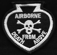 ARMY - Airborne Death From Above SKULL Spade Hook and Loop Military Patch