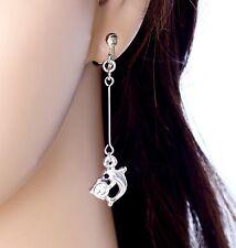"#E121K Pair 2.1"" Long CLIP ON EARRINGS Dangle Little Dolphin Crystal Love Animal"