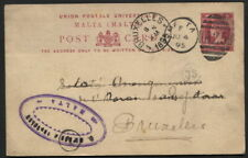 MALTA - postcard stationery to Belgium 1895 Malte