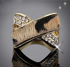 "Thompson Luxury ""Saraya"" Ring Leo-Print, Leder 18K gold plated Gr. 17 UVP 39,90€"