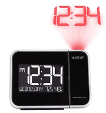 Projection Alarm Clock w/ Indoor Temperature Thermostat Red Time Wall Projector