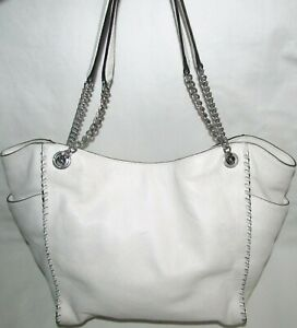 Michael Kors White Leather Large Chain Hobo Tote Shoulder Bag Marks in Leather