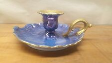 CANDLE HOLDER   BLUE  WITH   HEAVY  GOLD  TRIM