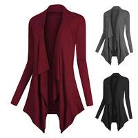 Women Long Sleeve Thin Cardigan Open Front Draped Solid Casual Irregular Hem US