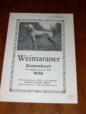 More details for very rare weimaraner dog stud book 1st 1938