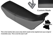 Black & grey custom fits honda nx 650 dominator 89-91 double housse siège en cuir