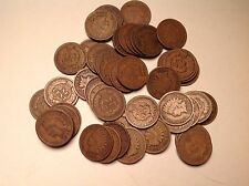 Indian head cent roll  50 coin lot attractive hand selected circulated coins