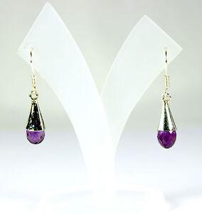 Amethyst Earrings 925 Silver Gemstone Earrings Purple Earrings Noble ca.33 MM