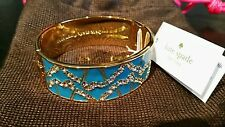 KATE SPADE NY Turquoise Garden Grove Crystal Bling Bangle Bracelet NEW W POUCH