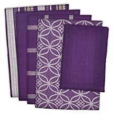 5 Piece Purple 4 Patterns Dish Towels 1 Dishcloth Kitchen Drying Cleaning Wiping