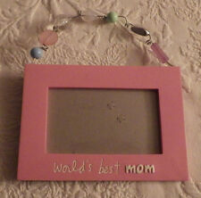 "World's Best Mom Photo Picture Frame Pink Holds 2.5"" x 4.5"" Photo"