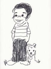 Dondi with Dog Commission art by Irwin Hasen Comic Art