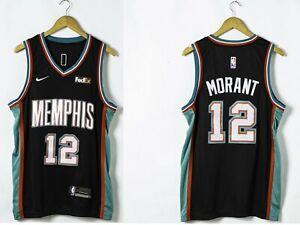 Ja Morant 12 Memphis Grizzlies 20th Season Classic Black 2021 Jersey