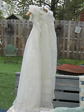 Vintage 2 Piece Infant Baby Baptism Christening Lace Gown Dress 0-12 Months