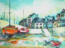 PIERRE JACQUOT UNFRAMED SIGNED # LITHOGRAPH, FISHING VILLAGE, COA