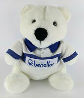 "Benetton 13"" White Plush Teddy Bear with Rugby Shirt - Clean - Vintage 1985"