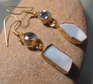 18K Gold plated brass rough blue larimar, and blue topaz gemstone earrings.