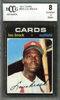Lou Brock Card 1971 Topps #625 St Louis Cardinals (Centered) BGS BCCG 8