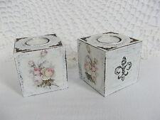 2 Teelichthalter Kerzenhalter Shabby Rose Fleur de Lis Landhaus Deko Handarbeit