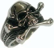 SKULL CROSS BONES STAINLESS STEEL MENS RING fashion jewelry weird BRS502 SKULLS